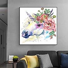 zqyjhkou Watercolor unicorn wall/Print on