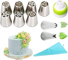 Zqyrlar - 11 pieces Piping nozzle set, professional stainless steel Russian nozzle attachments: 7 large flower nozzles, 2 leaves, 1 adapter, 1 silicone piping bag, cupcake decoration baking set, baking accessories, cake decorating