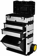 Zqyrlar - 3-Part Rolling Tool Box with 2 Wheels -
