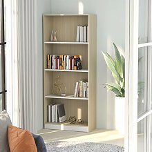 Zqyrlar - 4-Tier Book Cabinet White and Sonoma Oak