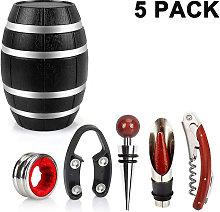 Zqyrlar - 5 piece plastic wine barrel shaped wine accessory set, wine opener set including wine corkscrews, wine corks, wine pourers