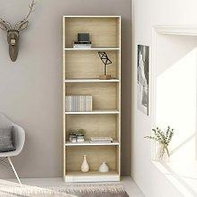 Zqyrlar - 5-Tier Book Cabinet White and Sonoma Oak