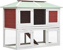 Zqyrlar - Animal Rabbit Cage Double Floor Red Wood