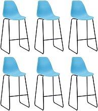 Zqyrlar - Bar Chairs 6 pcs Blue Plastic - Blue