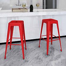 Zqyrlar - Bar Stools 2 pcs Red Steel - Red