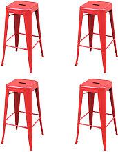 Zqyrlar - Bar Stools 4 pcs Red Steel - Red