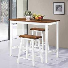 Zqyrlar - Bar Table and Stool Set 3 Pieces Solid