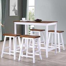Zqyrlar - Bar Table and Stool Set 5 Pieces Solid