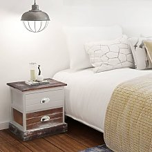 Zqyrlar - Bedside Cabinet Brown and White -