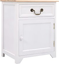 Zqyrlar - Bedside Cabinet White and Brown 40x30x50
