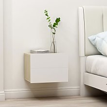 Zqyrlar - Bedside Cabinet White and Sonoma Oak