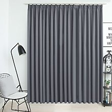 Zqyrlar - Blackout Curtain with Hooks Grey 290x245