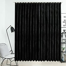 Zqyrlar - Blackout Curtain with Hooks Velvet Black