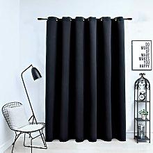 Zqyrlar - Blackout Curtain with Metal Rings Black