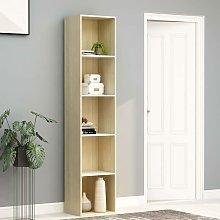 Zqyrlar - Book Cabinet White and Sonoma Oak