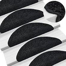 Zqyrlar - Carpet Stair Treads 15 pcs Black 65x25