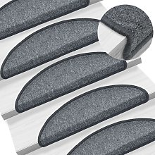 Zqyrlar - Carpet Stair Treads 15 pcs Dark Grey