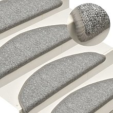 Zqyrlar - Carpet Stair Treads 15 pcs Light Grey