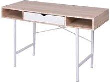 Zqyrlar - Desk with 1 Drawer Oak and White -