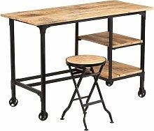 Zqyrlar - Desk with Folding Stool Solid Mango Wood