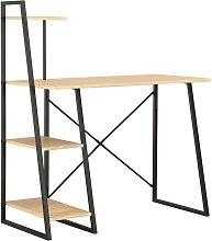 Zqyrlar - Desk with Shelving Unit Black and Oak