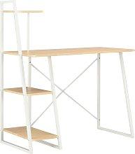 Zqyrlar - Desk with Shelving Unit White and Oak