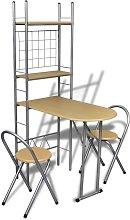 Zqyrlar - Foldable Breakfast Bar Set with 2 Chairs