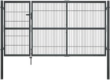 Zqyrlar - Garden Gate with Posts Steel 350x140 cm