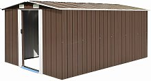 Zqyrlar - Garden Shed 257x398x178 cm Metal Brown -
