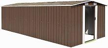 Zqyrlar - Garden Shed 257x597x178 cm Metal Brown -
