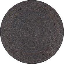 Zqyrlar - Handmade Rug Jute Round 90 cm Dark Grey