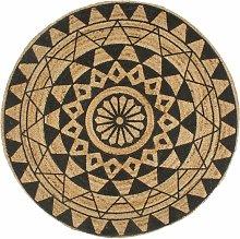Zqyrlar - Handmade Rug Jute with Black Print 120
