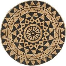 Zqyrlar - Handmade Rug Jute with Black Print 90 cm