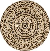 Zqyrlar - Handmade Rug Jute with Dark Brown Print
