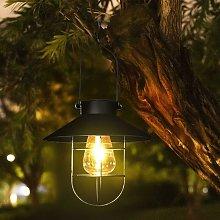 Zqyrlar - Hanging Solar Lantern with Hook, Vintage LED Solar Light with Warm White, Steel Cage, Waterproof Solar Powered Solar Lantern for Garden, Yard, Patio, Fence, Decor - Black