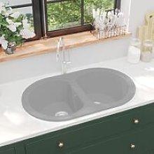 Zqyrlar - Kitchen Sink Double Basins Oval Grey