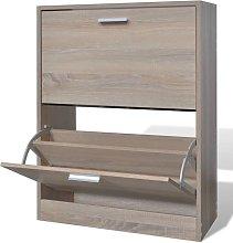 Zqyrlar - Oak Look Wooden Shoe Cabinet with 2