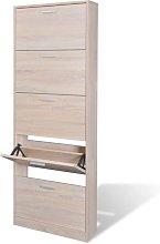 Zqyrlar - Oak Look Wooden Shoe Cabinet with 5