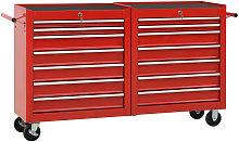 Zqyrlar - Tool Trolley with 14 Drawers Steel Red -