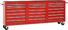 Zqyrlar - Tool Trolley with 21 Drawers Steel Red