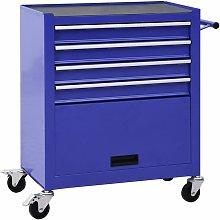Zqyrlar - Tool Trolley with 4 Drawers Steel Blue -