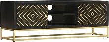 Zqyrlar - TV Cabinet Black and Gold 120x30x40 cm
