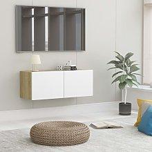 Zqyrlar - TV Cabinet White and Sonoma Oak 80x30x30