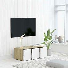 Zqyrlar - TV Cabinet White and Sonoma Oak 80x34x30