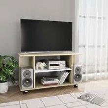 Zqyrlar - TV Cabinet with Castors White and Sonoma