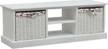 Zqyrlar - TV Cabinet with Two Baskets White Wood -