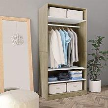 Zqyrlar - Wardrobe White and Sonoma Oak 100x50x200