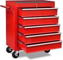 Zqyrlar - Workshop Tool Trolley 5 Drawers Red - Red