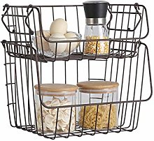 Zshhy 1 Set Metal Wire Storage Basket Stackable