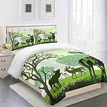 ZSZCDU Duvet Cover Set King Size Green animal elk